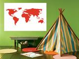 Carte du monde en rouge Poster par  Avalisa