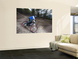 Mountain Biker on Malice in Plunderland Trail, Spencer Mountain, Whitefish, Montana, USA Prints by Chuck Haney