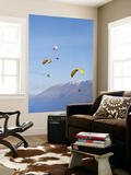 Paragliders Over Mountains, Queenstown, South Island, New Zealand Prints by David Wall