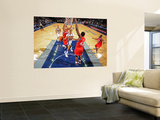 Philadelphia 76ers v New Jersey Nets: Devin Harris, Spencer Hawes and Elton Brand Print by David Dow