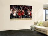 Miami Heat v Chicago Bulls - Game Five, Chicago, IL - MAY 26: LeBron James, Derricxk Rose, Mike Mil Posters by Mike Ehrmann