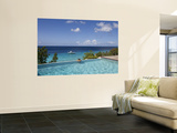Swimmer in Infinity Pool at Habitat Curacao Dive Resort Near St. Willibrordus Poster af Holger Leue