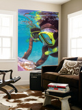 Two People Snorkelling in Blue Water Prints by Greg Johnston