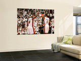 Philadelphia 76ers v Miami Heat - Game One, Miami, FL - APRIL 16: LeBron James and Chris Bosh Print by Issac Baldizon