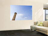 Low Angle View of Great Mosque Minaret and Flock of Birds Prints by Holger Leue