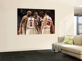 Miami Heat v Chicago Bulls - Game Two, Chicago, IL - MAY 18: Carlos Boozer, Derrick Rose, Luol Deng Prints by Jonathan Daniel