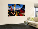 Buddhist Prayer Flags Framing Kangchenjunga Peak (8586M), Singali Ridge Print by Garry Weare