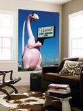Pink Dinosuar Greeting Visitors Poster by Wade Eakle