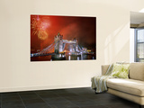 Tower Bridge and Fireworks, London, England Poster by Steve Vidler