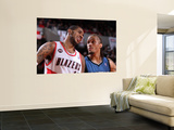 Minnesota Timberwolves v Portland Trail Blazers: Michael Beasley and LaMarcus Aldridge Posters by Sam Forencich