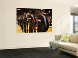 Sacramento Kings v Miami Heat, Miami - February 22: Dwyane Wade, LeBron James and Chris  Bosh Print by Issac Baldizon