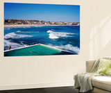 Overhead of Bondi Icebergs Pool and Bondi Beach Print by Holger Leue