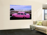 Pink Mercedes Car in Snow-Capped Area, Somme Region Posters by Olivier Cirendini