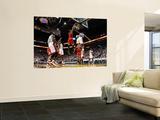 Chicago Bulls v Miami Heat - Game FourMiami, FL - MAY 24: Derrick Rose, Joel Anthony and LeBron Jam Plakater af Mike Ehrmann
