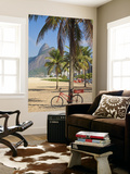 Brazil, Rio De Janeiro, Leblon Beach, Bike Leaning on Palm Tree Poster by Jane Sweeney