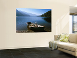 Dinghy on Beach at Lago Curruhue, Lake District Print by Grant Dixon
