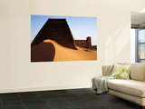 Pyramids and Tombs in Royal Cemetery, Meroe North of Khartoum Prints by David Else