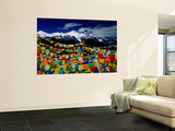 Meilixueshan (Also known as Meili Xueshan) Mountain Range and Buddhist Prayer Flags Print by Richard l'Anson
