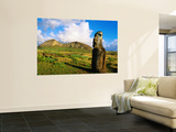 The Travelling Moai and Rano Raraku Volcano Poster by Peter Hendrie