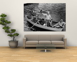 President Harry S. Truman Standing in Rowboat, Fishing with Others Print by George Skadding