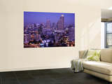 Thailand, Bangkok, City Skyline and Chao Phraya River at Night Print by Steve Vidler