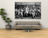 Boys Club Little League Baseball Players Putting on Their Uniforms Prior to Playing Game Art by Yale Joel