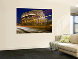 Traffic Trails and Collosseum (Colosseo) at Night from Via Dei Fori Imperiali Print by Guylain Doyle
