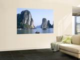 Halong Bay, Karst Limestone Rocks, House Boats, Vietnam Poster by Steve Vidler
