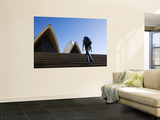 Backpacker Climbing Steps of Sydney Opera House Poster by Andrew Watson