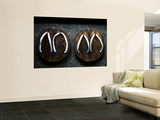Traditional Wooden Thongs Outside a Kaiseki Restaurant Print by Greg Elms