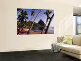 Palm Trees and Fishing Boats on Soufriere Beach with One of the Pitons in the Background Prints by Richard l&#39;Anson