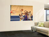 Los Angeles Lakers v Indiana Pacers: Andrew Bynum, Roy Hibbert and Brandon Rush Prints by Ron Hoskins