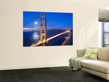 Golden Gate Bridge at Dusk with Moon in Background from Vista Point Poster by Orien Harvey