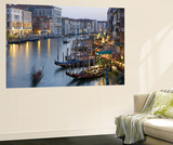 Outlook from Ponte Di Rialto Along Grand Canal at Dusk Posters by David Tomlinson