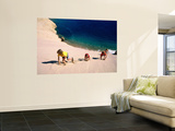 Overhead of Children Climbing Sand Dune Print by Philip & Karen Smith