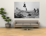 Bushman Children Playing Games on Sand Dunes Print by Nat Farbman