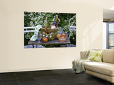 Still-Life with Wine, Cheese and Apples, in the Garden of a House in St. Denis Le Ferment Prints by Barbara Van Zanten