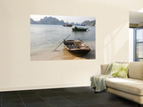 Woven Sampan Beached on Sand with Halong Bay and Boats in Background Poster by Sally Dillon