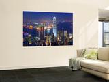 Puerto de Victoria y silueta de la ciudad desde la Cumbre Victoria, Hong Kong, China  Póster por Michele Falzone