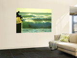 Green Afternoon Waves Off the Wall at Waikiki with a Boogie Boarder on the Side at the Wall Poster by Ann Cecil