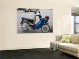 Young Motorcyclist with Goggles on Stationary Motorcycle Art by John Borthwick