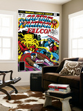 Captain America And The Falcon No.205 Cover: Captain America, Falcon and Agron Fighting and Flying Posters by Jack Kirby