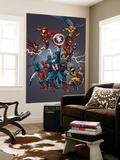 Tom Grummett - Official Handbook: Avengers 2005 Cover: Captain America, Hulkling and Cage Reprodukce