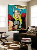 Marvel Comics Retro: Mighty Thor Comic Panel; God of Thunder! Holding Hammer (aged) Print