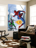 Spider-Man and Green Goblin Fighting in the City; Throwing Flaming Pumpkin Posters