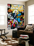 Infinity Gauntlet No.6 Cover: Adam Warlock, Thanos, Nebula, Silver Surfer, Hulk and Thor Fighting Print by George Perez