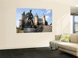 Statue of Lange Wapper in Front of Het Steen-The 13th Century Castle. Print by Bruce Bi