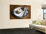 Coffee, Traditionally Served on Oval Metal Tray with a Glass of Water Art by Krzysztof Dydynski