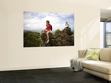 Girls on Rocks on Nounou Mountain Hiking Trai Prints by Micah Wright