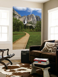 Yosemite Falls with Wooden Walkway in Foreground Art by Emily Riddell